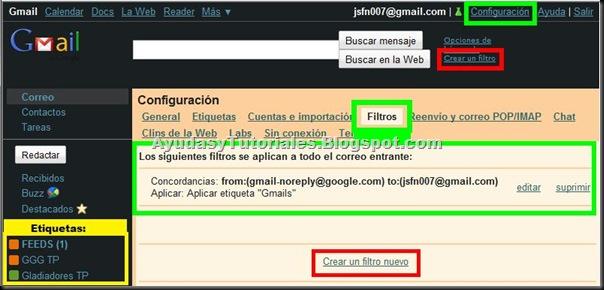 Gmail - Editar Filtros - AyudasyTutoriales