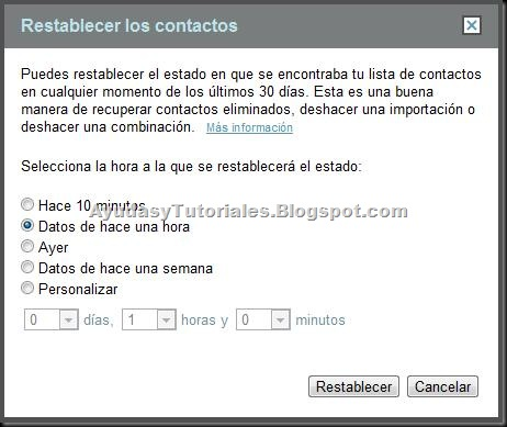Gmail - Restablecer los Contactos