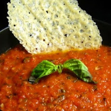 Chunky Tomato Basil Soup with Parmigiano Cheese Crisps