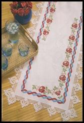 trilho de mesa dança das rosas em ponto cruz