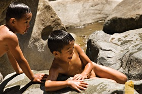 Kids Having Fun at Sagada's Bomod-Ok Falls