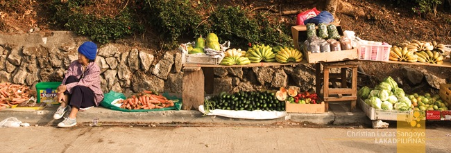 A Sagada Local, the Sidewalk her Stall