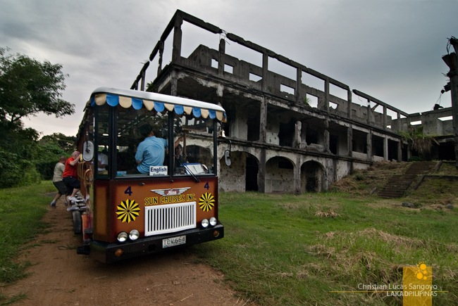 Scrambling Up the Tram Before Darkness Arrives at Corregidor's Old Hospital