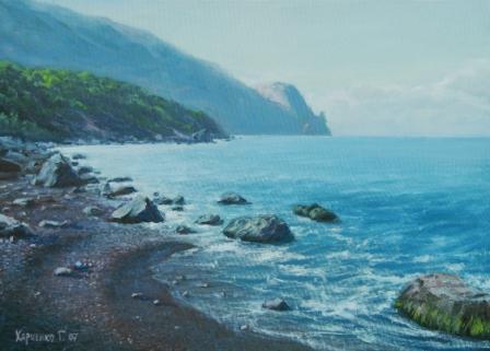 Море горы пейзаж холст масло
