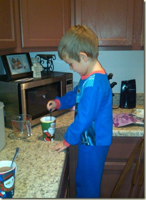 joshua making hot chocolate