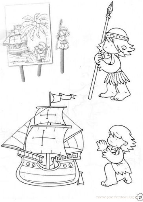 Dibujos para colorear Cristóbal Colón y las carabelas ...