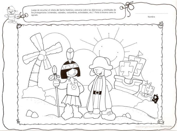 Dibujos para colorear Cristóbal Colón y las carabelas