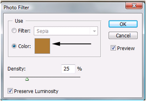 Photo Filter Color Option