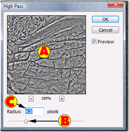 High Pass Filter Dialog Box