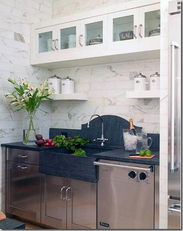 soapstone slab backsplash via cotedetexas | kent kitchen works blog