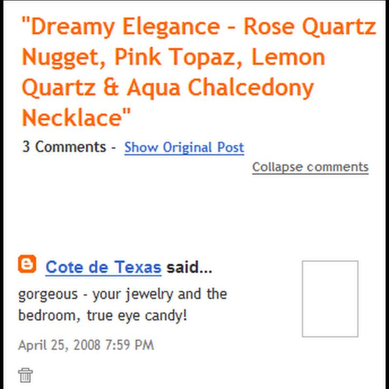 Jewelry, Generosity and Blogging