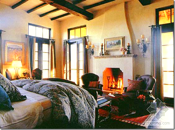 the master bedroom reminds me of a ralph lauren advertisement the
