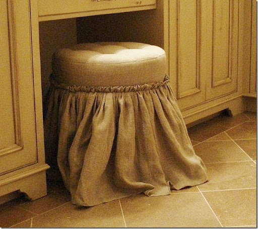 makeup stool. AFTER: The tufted stool is