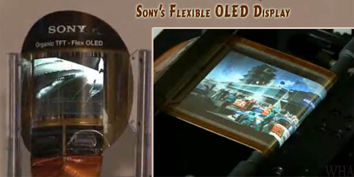 Sony's rollable oled tft display screen wrapped on pencil/pen/finger image