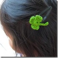 crochet shamrock hairclip