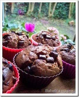 muffins choco lait pépites noires