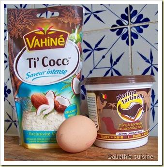 ingrédients gateau choco coco