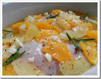 poulet aux agrumes et romarin avant cuisson
