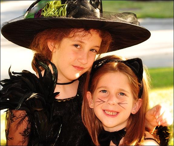 Girls together on Halloween