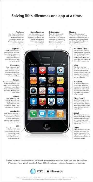 iPhone 3億ダウンロード AT&T