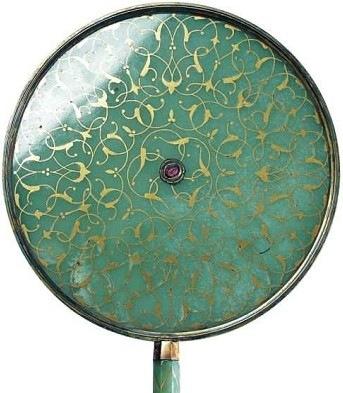 Miroir, Fin 16e siècle, début 17e siècle, jade, Ruby, Or, Topkapi Palace Museum