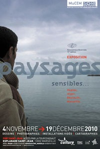 Affiche Exposition Paysages sensibles. Alger, Beyrouth, Marseille, Naples...