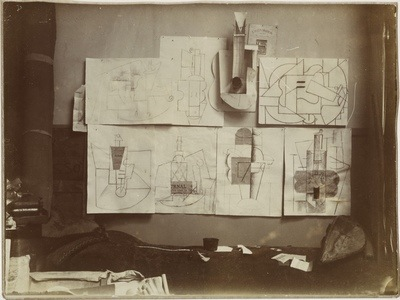 Photograph of Pablo Picasso's installation in the artist's studio in Paris. Private collection. Courtesy of MoMA