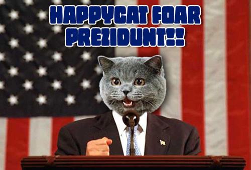 HAPPYCAT FOAR PREZIDUNT!!