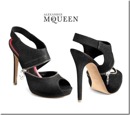Alexander McQueen Zipper and Skull Slingback Sandals