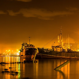 Docked by Henry Starbuck - Landscapes Waterscapes ( #harbour, #sea, #night, #boat )