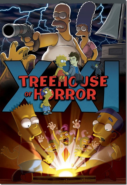 "THE SIMPSONS: Beware of ouija boards, vampires and unexpected tricks in the 21st annual ""Treehouse of Horror"" trilogy.  In ""War and Pieces,"" the first of three spine-tingling tales, when Marge encourages Bart and Milhouse to try playing wholesome, classic board games, the best friends  discover that board games aren't boring after all when they find themselves playing a real life game.  The supernatural spells continue in ""Tweenlight,"" when Lisa becomes smitten with mysterious new student, Edmund (guest voice Daniel Radcliffe), only to  discover he is a vampire. After Lisa and Edmund run away to ""Dracula-la Land"", it's Homer to the rescue as he tries to to save her before she becomes one of the undead.  In the final frightening fable, ""Master and Cadaver,"" Homer and Marge set sail on a romantic second honeymoon, but are interrupted when they rescue a castaway named Roger (guest voice Hugh Laurie) and learn the story of his deadly escape in the all-new ""Treehouse of Horror XXI"" episode of THE SIMPSONS airing Sunday, Nov. 7 (8:00-8:30 PM ET/PT) on FOX.  THE SIMPSONS ™ and © 2010 TTCFC ALL RIGHTS RESERVED."