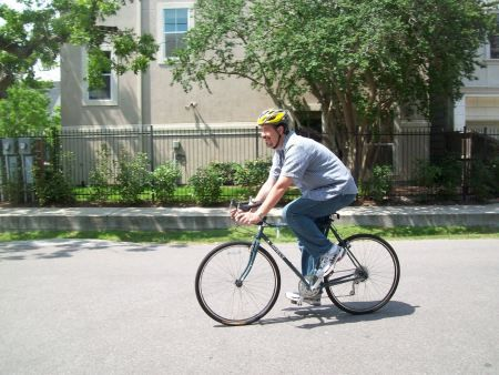 Taking the bike for a test spin through the neighborhood