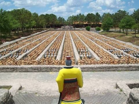 Forbidden Gardens in Katy, Texas near Houston features over 6,000 replicas of the famous Terra Cotts soldier statues of China