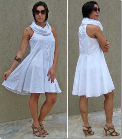 moda de novela vestido branco com gola arquitetônica estilo duda