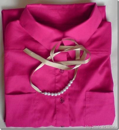 moda de novela chemisier pink mais pulseira tecido com pérolas