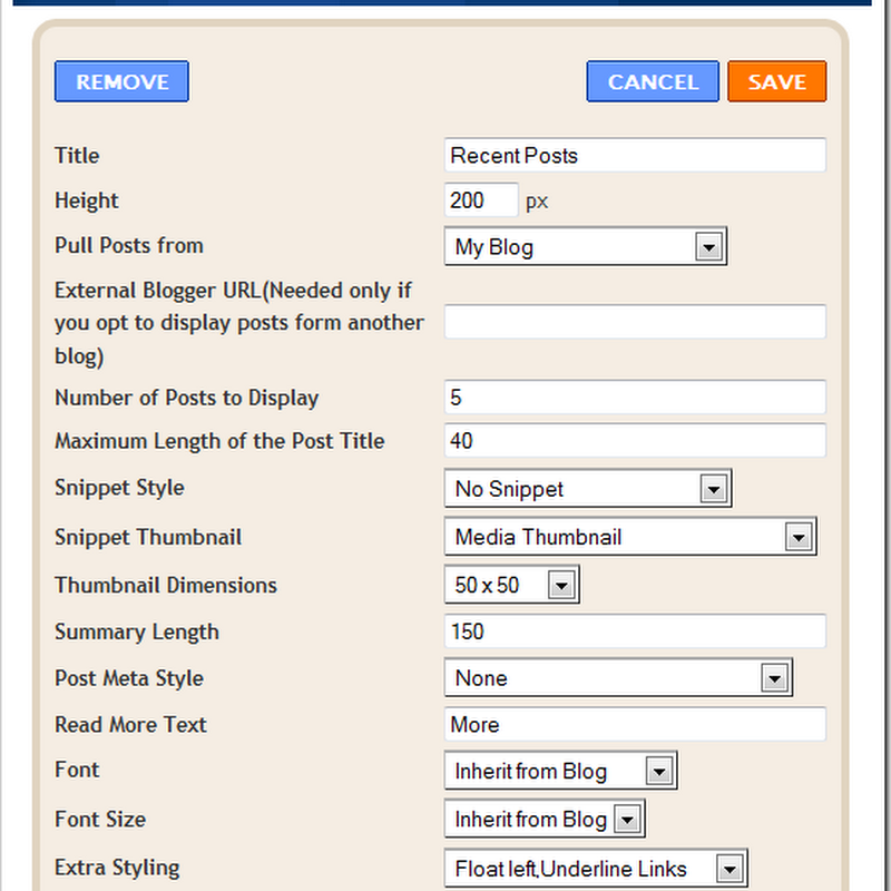 Recent Posts with Thumbnails Widget for Blogger