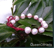 crochet red pearl bracelet2