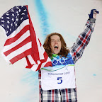 VANCOUVER, BC - FEBRUARY 17:  Shaun White of the United States reacts after winning the gold medal in the Snowboard Men's Halfpipe final on day six of the Vancouver 2010 Winter Olympics at Cypress Snowboard & Ski-Cross Stadium on February 17, 2010 in Vancouver, Canada. White won the gold medal with a score in his previous run.  (Photo by Streeter Lecka/Getty Images)