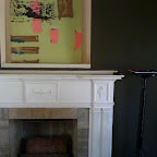Fireplace and Painting by Meg Ford