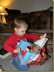 My buddy Carter openning his gift at aunt lauries 12/14/2010