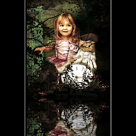 fairyland by Kathleen Devai - Digital Art People ( girl water clock teddy fairy fantasy )