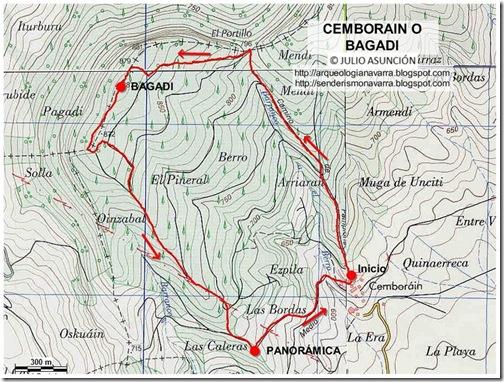 Mapa ruta Cemborain o Bagadi