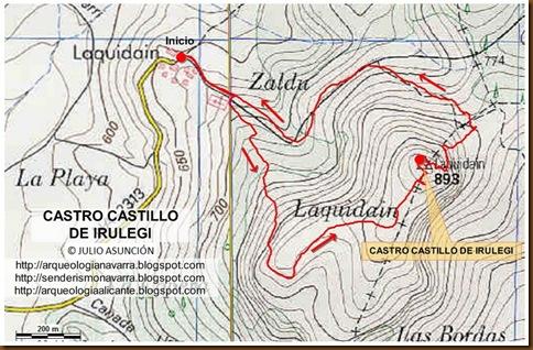 Mapa castro de Irulegi - Laquidain