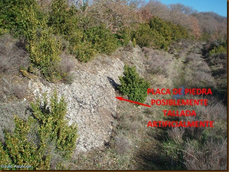 Posible tallado de roca como elemento defensivo - Castro del Montico - Idocin