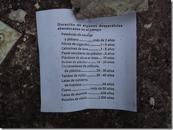 Lista de tiempo de desaparición de las basuras - Sierra de Gongolatz