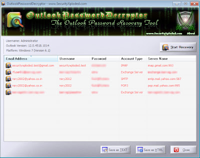 Recover Outlook Password With OutlookPasswordDecryptor