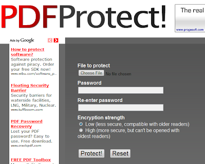Password Protect Your PDF File Online With PDFProtect