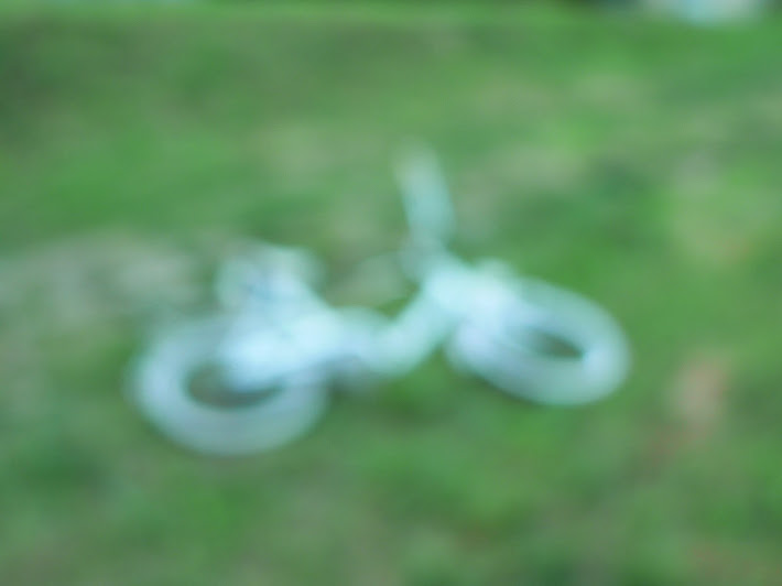 white bicycle green blur