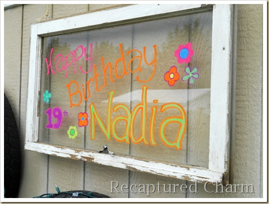 Old Window Birthday Sign 029a