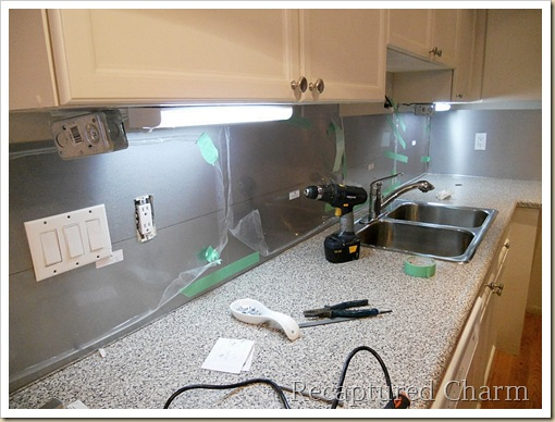 Recaptured Charm Backsplash with the look of Stainless Steel